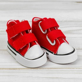 Sneakers for dolls Velcro, the length of sole is 7 cm, color red