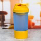 Шейкер спортивный сине-желтый, с чашей под протеин, 500 мл
