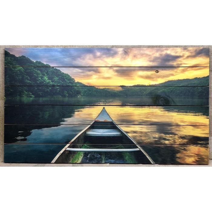 "Картина для бани ""Лодка в озере"", МАССИВ, 60×40 см"