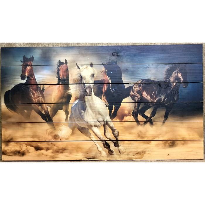"""Картина для бани """"Кони"""", МАССИВ, 60×40 см"""