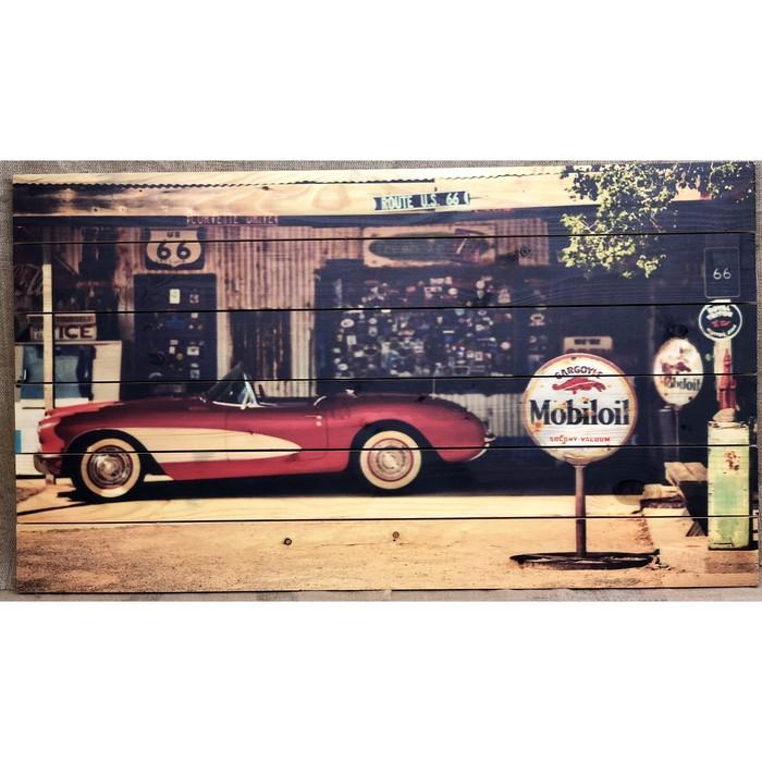 """Картина для бани """"Ретро авто на европейской улочке"""", МАССИВ, 60×40 см"""