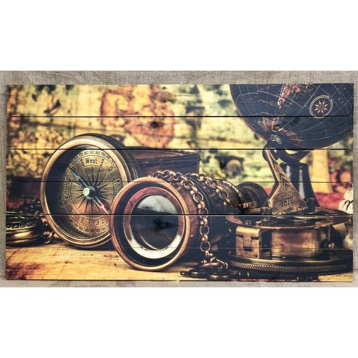 """Картина для бани """"Набор путешественника. Компас"""", МАССИВ, 60×40 см"""