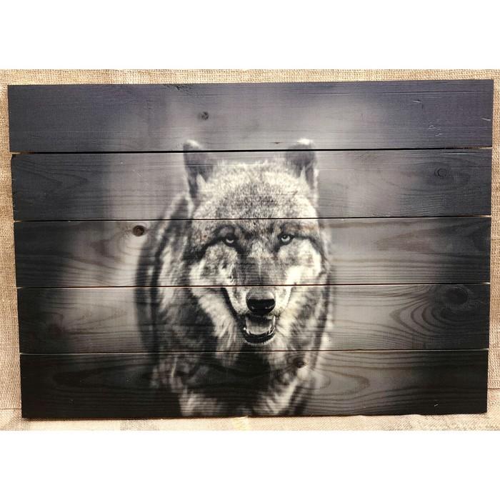 """Картина для бани """"Волк"""", МАССИВ, 60×40 см"""