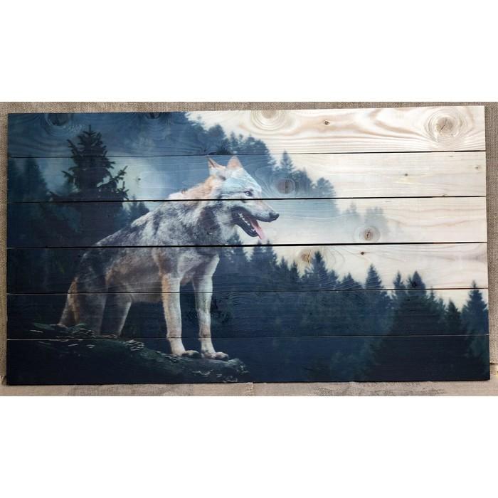 """Картина для бани """"Волк на горе"""", МАССИВ, 60×40 см"""