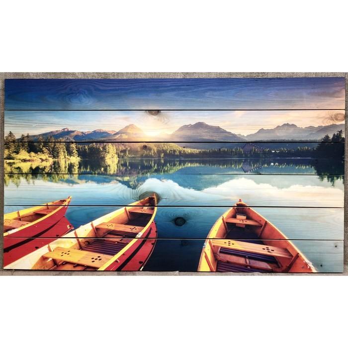 """Картина для бани """"Озеро с каноэ"""", МАССИВ, 60×40 см"""