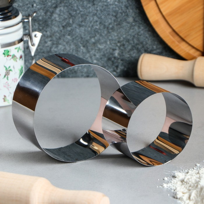 """Набор форм для выпечки и выкладки """"Круг"""", D-10, H-5 см, 2 шт. - фото 308023019"""