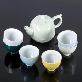 """Набор для чайной церемонии """"Пастель"""", 7 предметов: чайник 200 мл, 6 чашек 50 мл"""