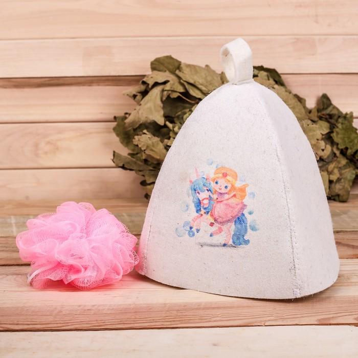 """Детский банный набор: шапка и мочалка """"Лучшей из принцесс"""""""