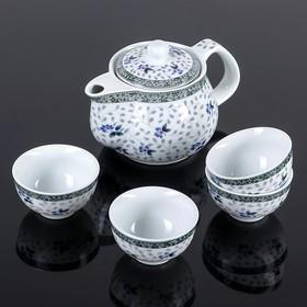 """Набор для чайной церемонии """"Цветочные мотивы"""", 5 предметов: чайник 200 мл, 4 чашки 30 мл"""