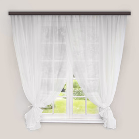 Комплект штор для кухни «Дороти», 280х180 см, цвет белый