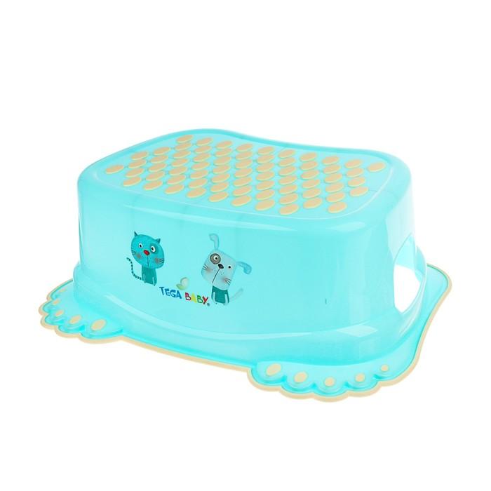 Подставка детская антискользящая «Кот и пёс», цвет голубой