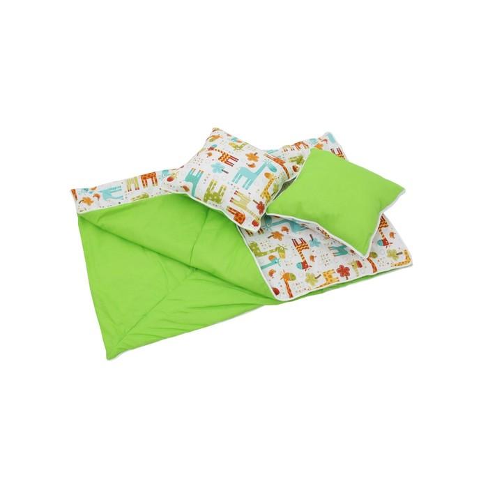 Комплект для вигвама: одеяло-110х140 см, наволочка-40х40 см-2 шт, зелёный, жираф