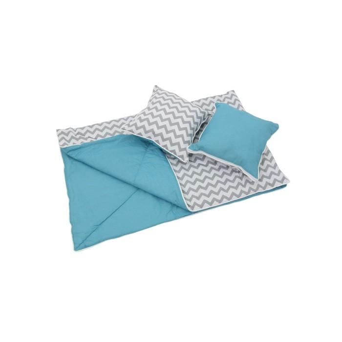 Комплект для вигвама: одеяло-110х140 см, наволочка-40х40 см-2 шт, голубой, зигзаг