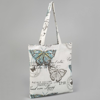 "Bag textile ""Blue Butterfly"", the zipper, no padding, color white"