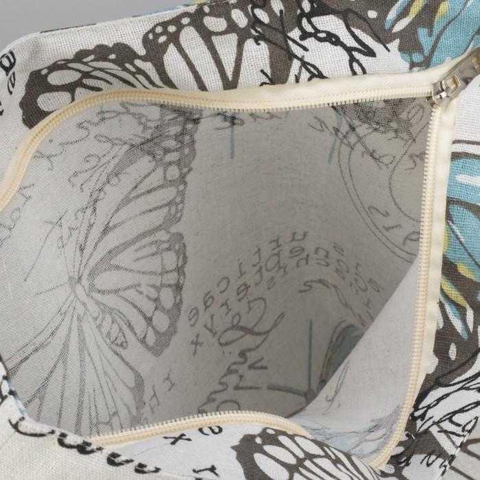 """Сумка текстильная """"Голубая Бабочка"""", отдел на молнии, без подклада, цвет белый"""