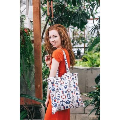 """Bag textile """"Anchor"""", the zipper, no padding, color white"""
