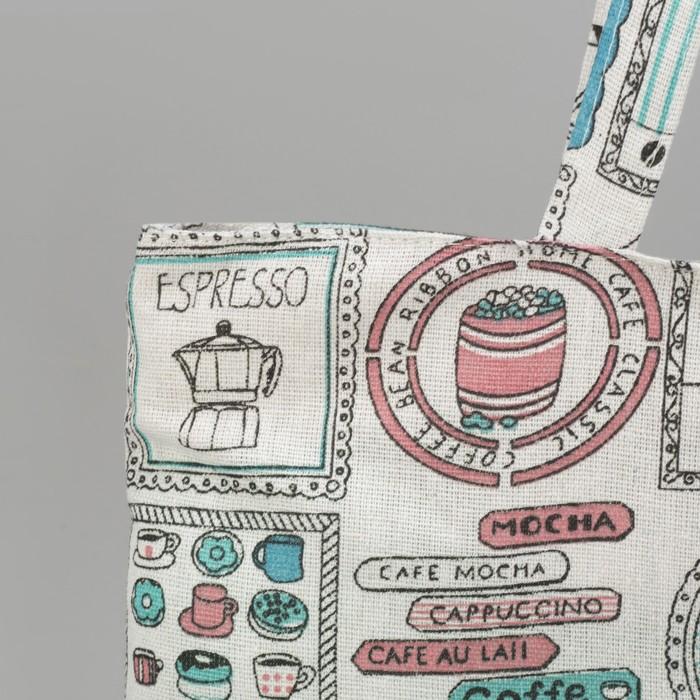 """Сумка текстильная """"Кафе"""", отдел на молнии, без подклада, цвет молочный"""