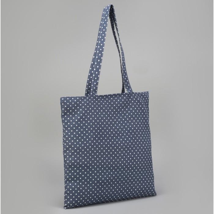"Сумка текстильная ""Горох"", отдел на молнии, без подклада, цвет синий"