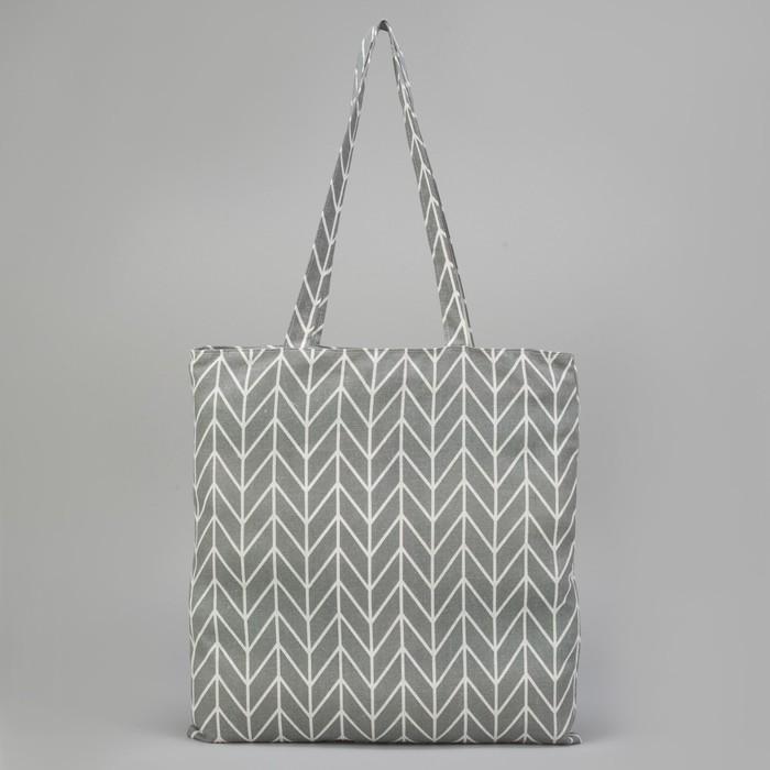 Сумка текстильная Орнамент, отдел на молнии, без подклада, цвет серый