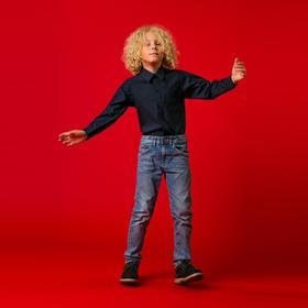 Школьная  рубашка для мальчика, рост 122 см, цвет тёмно-синий