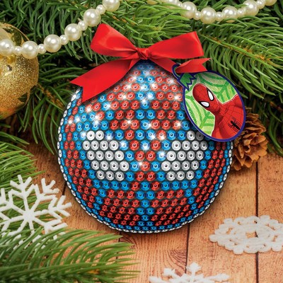 Christmas ball Spiderman sequin + fastening + tape + mini card