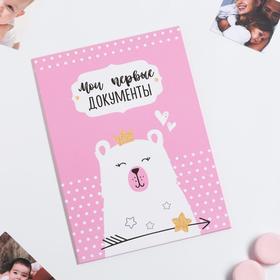 Папка для свидетельства о рождении для девочки «Мишка», под новый формат, А4, 32 х 22,3 см