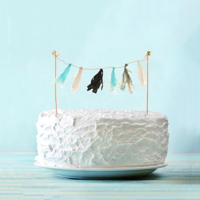 Украшения для торта «Шарм», тассел, цвета голубой, белый, серебряный - фото 700459