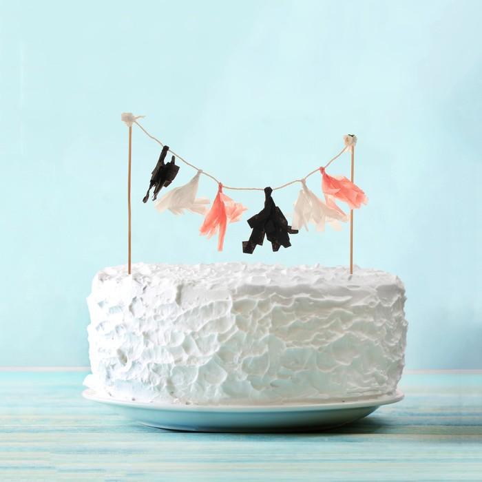 Украшения для торта «Шик», чёрный, белый, золотой - фото 700462