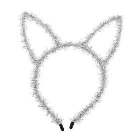 Карнавальный ободок «Зайка», цвет серебряный