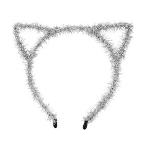 Карнавальный ободок «Киска», цвет серебряный