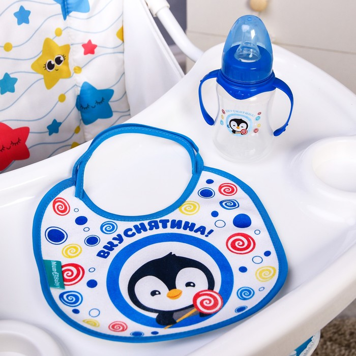Подарочный детский набор «Пингвинёнок Рокки»: бутылочка для кормления 150 мл + нагрудник детский непромокаемый из махры