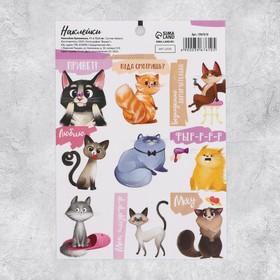 Наклейки бумажные «Котеечки» , 11 × 16 см Ош