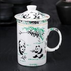 "Mug 300 ml ""Panda"", with lid and ceramic strainer"