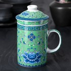 """Mug 300 ml """"Floral ornament"""", with lid and ceramic strainer, green"""