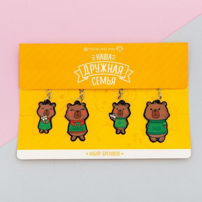Набор брелоков «Медведи», 4 шт., 18 х 17,5 см - фото 798110820