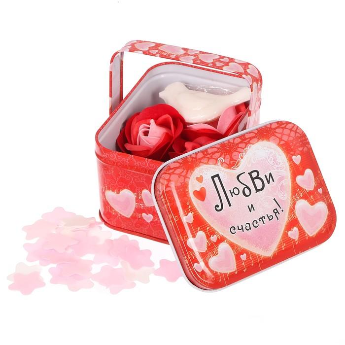 """Мыльные лепестки и фигурное мыло в шкатулке-корзиночке """"Любви и счастья"""""""