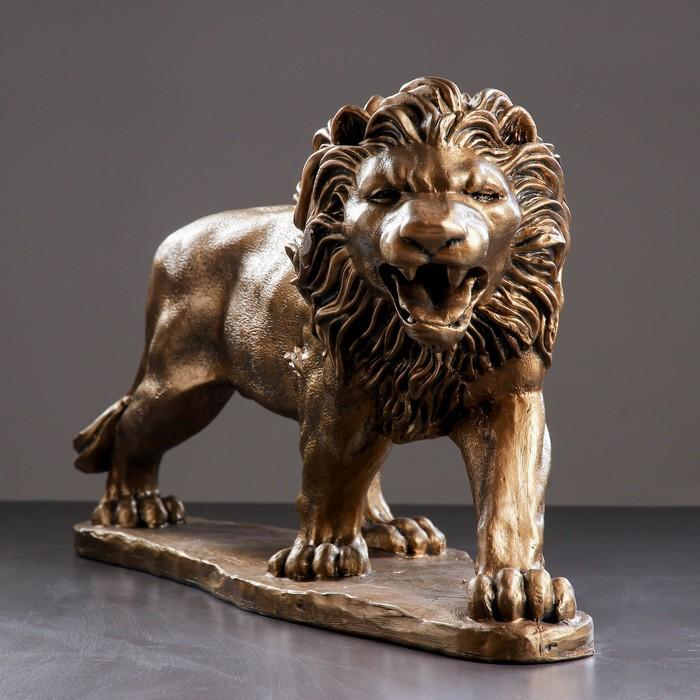 """Фигура """"Лев идущий большой правый"""" бронза,73×23×43 см"""