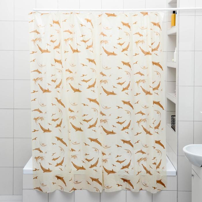 """Штора для ванной 180×180 см """"Дельфины"""", полиэстер, цвет бежевый"""