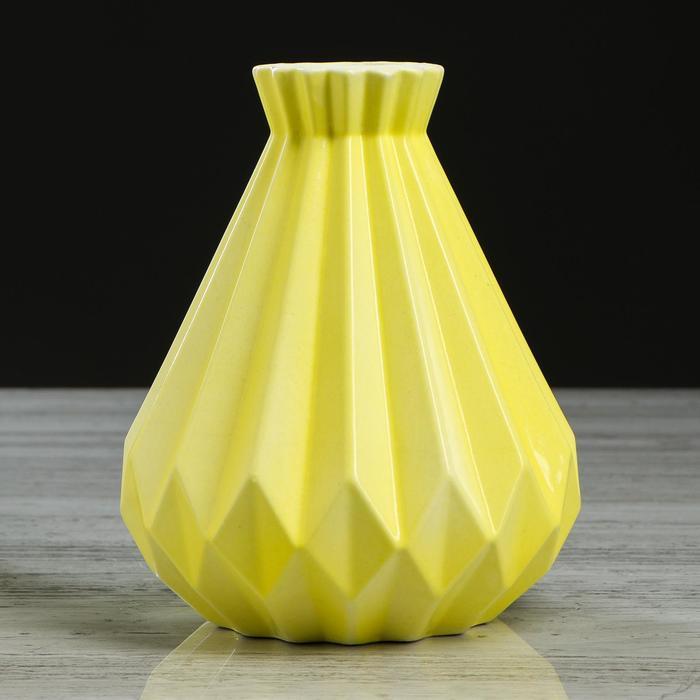 "Ваза настольная ""Модерн"", желтая, 18 см, керамика"