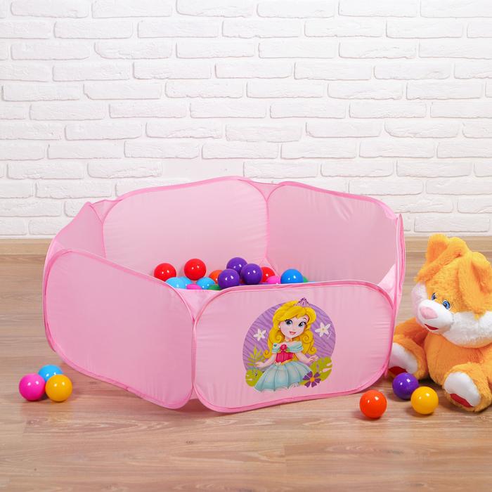 """Палатка детская, сухой бассейн для шариков """"Милая принцесса"""" + шарики 90 шт., d=7,5 см,  63х34х32см"""