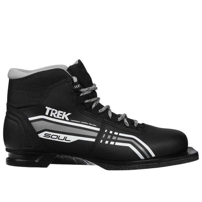 Ботинки лыжные TREK Soul NN75 ИК, цвет чёрный, лого серый, размер 38