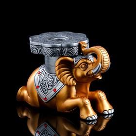 """Подставка напольная """"Слон №7"""" 22 см, золото, серебро"""