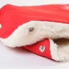 Муфта для рук на санки или коляску «Снежинка», меховая, на кнопках, цвет красный - фото 105546535
