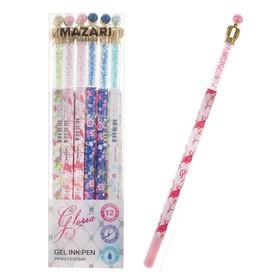 Ручка гелевая GLORIA, игольчатый пишущий узел 0.5 мм, чернила синие, микс