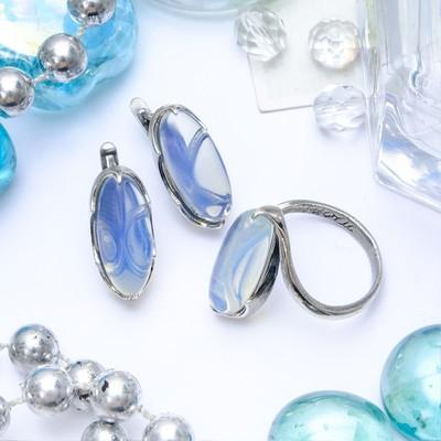 """Гарнитур посеребрение 2 предмета: серьги, кольцо, волны """"Лунный камень"""", 19 размер"""