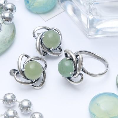 """Гарнитур посеребрение 2 предмета: серьги, кольцо, энотера """"Нефрит"""", 19 размер"""