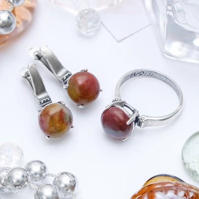 """Гарнитур посеребрение 2 предмета: серьги, кольцо, росинка """"Агат моховой"""", 19 размер"""