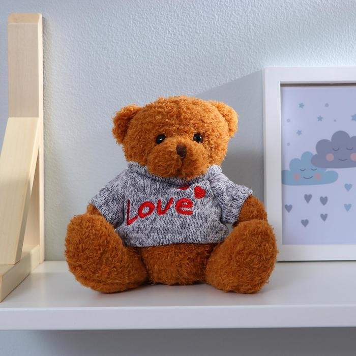 Мягкая игрушка «Медведь», кофточка с надписью, цвета МИКС