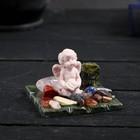 """Сувенир """"Ангелочек на коленях с бутоном роз"""", змеевик, мрамор"""