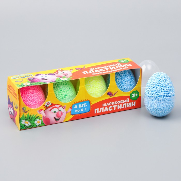 Шариковый пластилин крупнозернистый СМЕШАРИКИ, набор 4 цвет, 16 гр,  цвета МИКС - фото 798112966